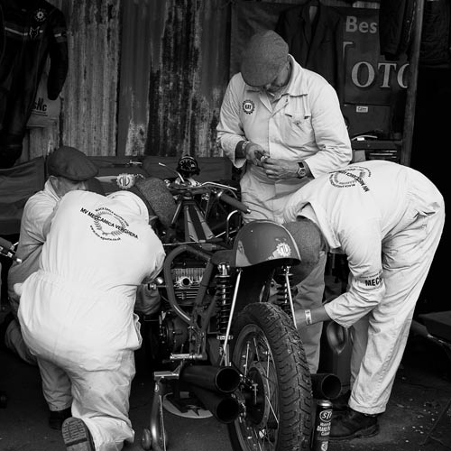 The Black Eagle Racing Mechanics at work