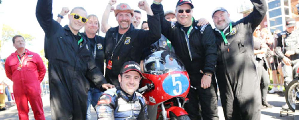 Black Eagle Racing Team celebrate winning the Okells Classic TT in 2016