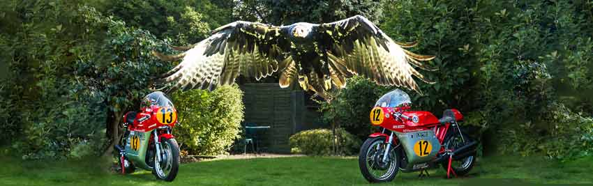The Kay family's black eagle with the two MV Agusta 500 machines which finished first and third at the Classic TT 500