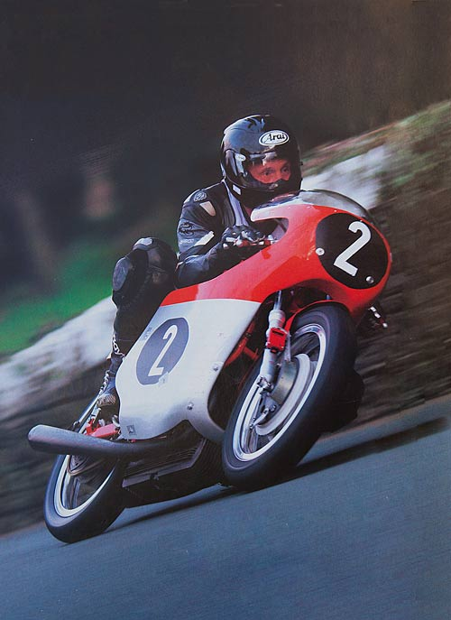 Alan Oversby riding the MV triple at the Isle of Man